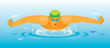 Racing the butterfly stroke. Illustration