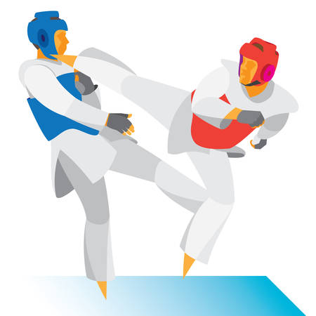 Young Taekwondo athlete is a fighter attack Illustration