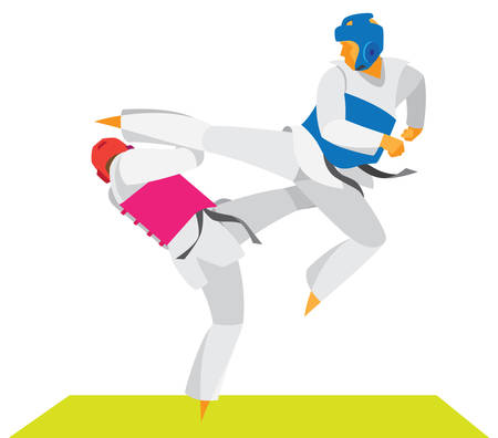The dramatic duel of two fighters Taekwondo 矢量图像