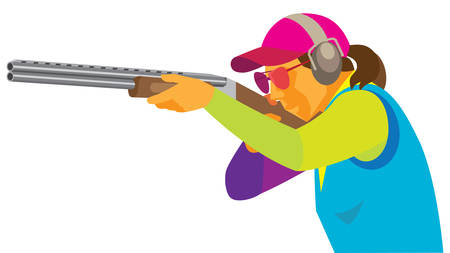 young woman is a marksman shooting skeet Vectores