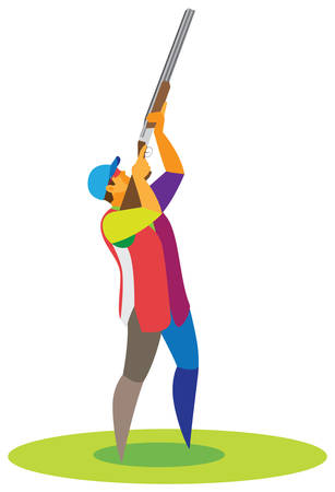 Clay pigeon shooting at a professional level Illustration