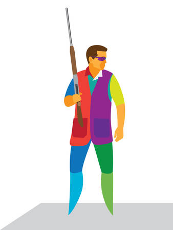 The shooter is standing with a rifle before the competition