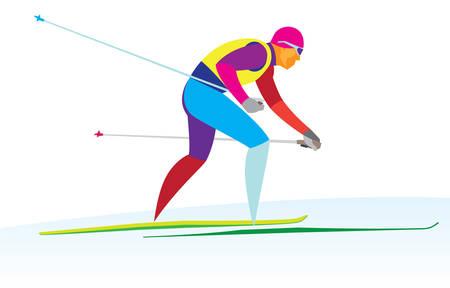 El esquiador de fondo llega rápidamente a la meta. Ilustración de vector