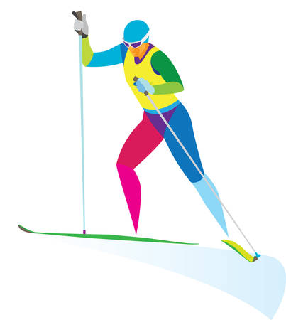 young woman skier racer on distance Illustration