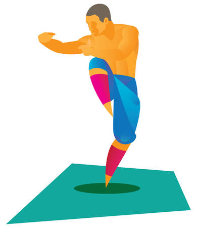 Kung fu fighter standing in front Illustration