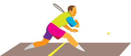 young men playing squash Illustration