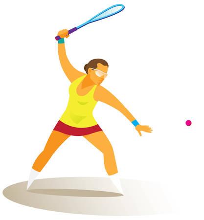 young woman playing squash