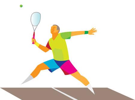 jeune athlète jouant au squash