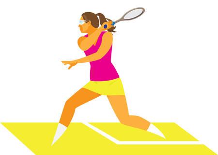 joueur de squash femme frappe une balle