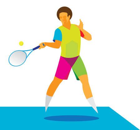 tennis player takes a hard ball