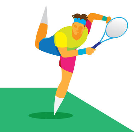 tennis player  to delive the ball