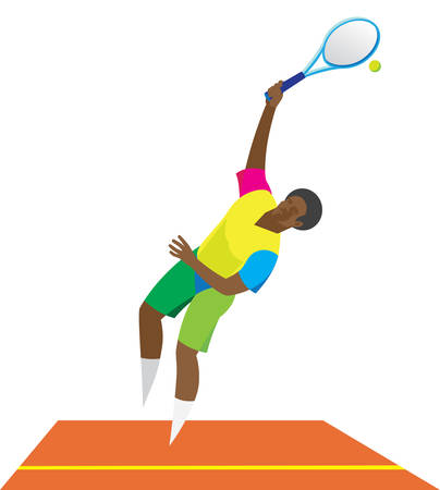 Young African American tennis player delivers the first pitch Illustration