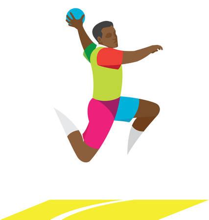 Young handball player jumping attacking gates