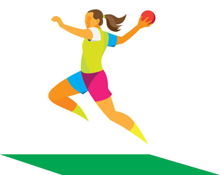 young female handball player to attack in jump Ilustracja