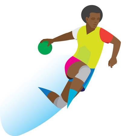 Young African American handball player throws a ball in a jump