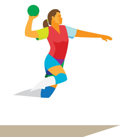 Young Woman is handball player in attack