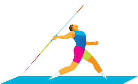 Strong athlete hurls a spear
