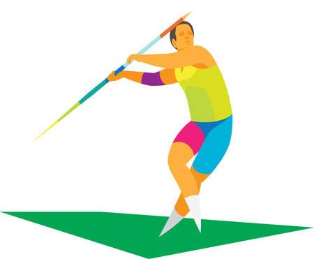 il giovane atleta è lanciatore di giavellotto Vettoriali