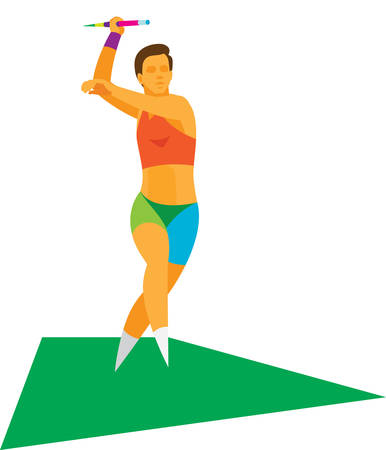 young woman is javelin thrower to throw spears Vectores