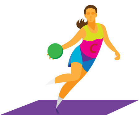young girl dribbles in netball