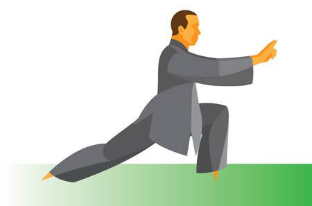 Man is the Master of Tai Chi Vektorové ilustrace
