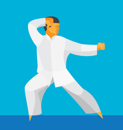 man engaged in the Chinese martial art of tai chi Illustration