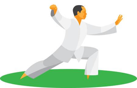 el hombre es maestro de artes marciales chinas Tai Chi Ilustración de vector