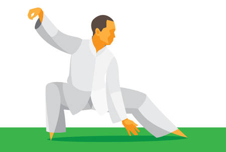 The man is the guru of the Chinese martial arts Tai Chi Illustration