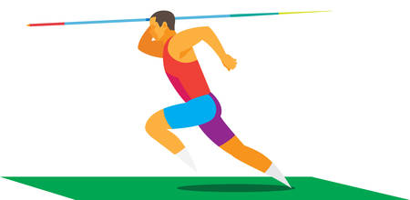 athlete javelin thrower makes a run Foto de archivo - 111668570