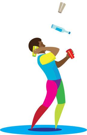African American barman skillfully juggles bottles and glasses Illustration