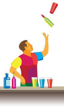 The young bartender juggling bottles and glasses behind the bar Illustration