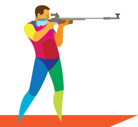 Młody sportowiec do rywalizacji w strzelaniu z karabinu