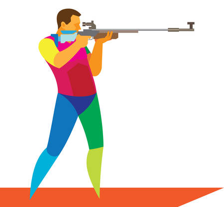The young Athlete to compete in shooting of rifle Ilustracja