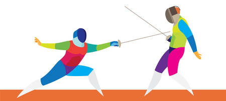 A fencer attacking the opponent on the track Illustration