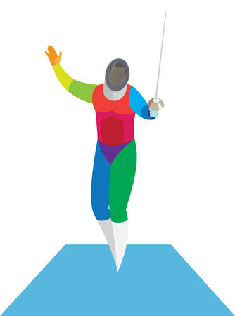Young fencer before the fight on the track Illustration