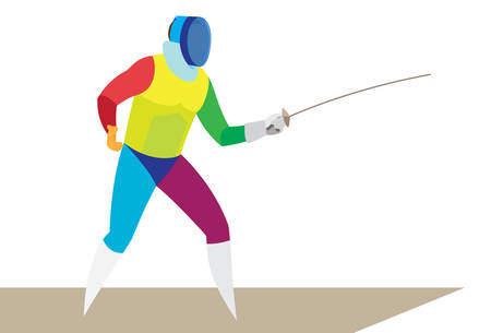 young athlete is a fencer who is ready to attack