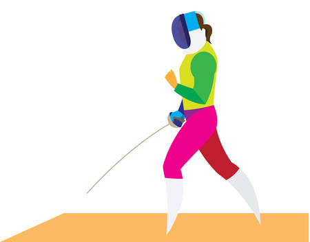 Young woman fencer is participating in competitions