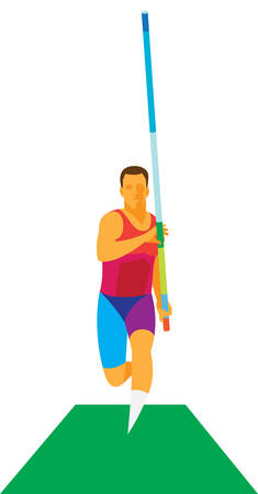 Young athlete is pole vaulter on the track for the running start