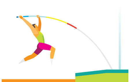 Young man is pole vaulter performs a jump Illustration