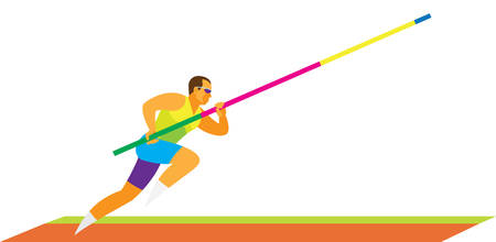 Young athlete is pole vaulter makes a run Illustration