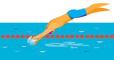Il giovane nuotatore si tuffa in acqua