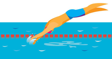 Young swimmer jumps into the water Ilustração