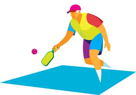 Enérgico anciano jugando en una cancha con una raqueta y pelota