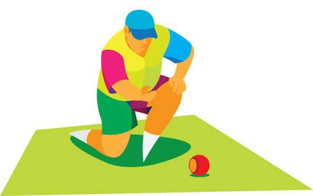 A burly man playing lawn bowls Illustration
