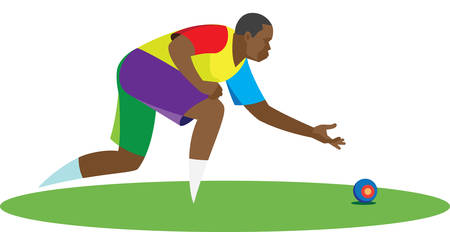 Young African-American athlete playing a game of lawn bowls Stock Illustratie