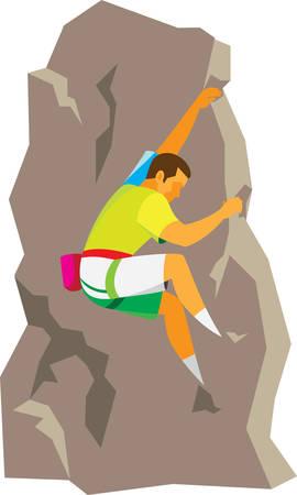 An experienced climber climbs a steep rock