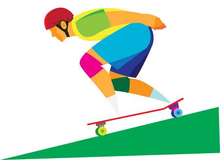 joven montando una patineta en la carretera Ilustración de vector