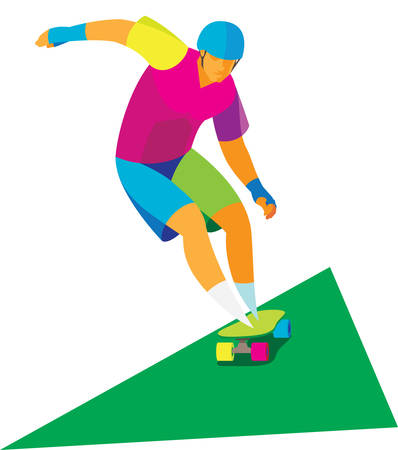 The young skateboarder performs at competitions in slalom