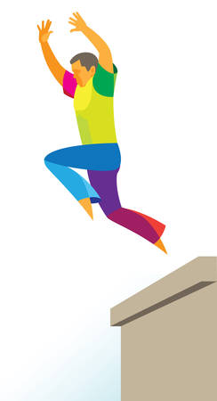 a young free runner makes a risky jump over a obstacle