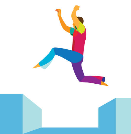 Ein junger Freiläufer vollführt einen komplizierten Sprung auf das Dach Vektorgrafik